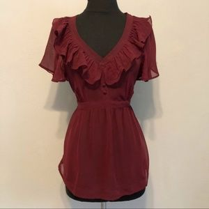 Charlotte Russe Wine Colored Sheer Blouse